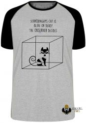Camiseta Raglan Gato de Schrödinger