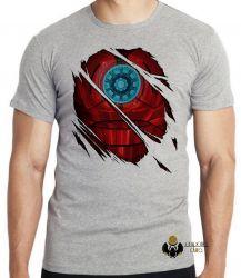 Camiseta Infantil Homem de Ferro reator armadura