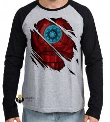 Camiseta Manga Longa Homem de Ferro  reator armadura