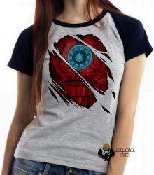 Blusa Feminina Homem de Ferro reator armadura