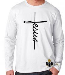 Camiseta Manga Longa Jesus Cristo crucifixo