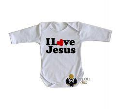 Roupa Bebê manga longa Love Jesus