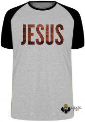 Camiseta Raglan Jesus madeira