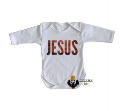 Roupa Bebê manga longa Jesus madeira