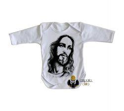 Roupa Bebê manga longa Jesus Cristo Salvador