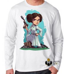 Camiseta Manga Longa Star Wars Mini Princesa Leia