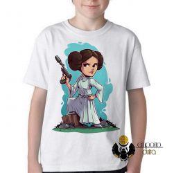 Camiseta Infantil  Star Wars Mini Princesa Leia