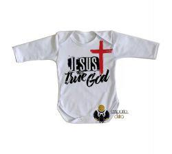 Roupa Bebê manga longa Jesus Cristo verdadeiro Deus