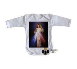 Roupa Bebê manga longa Jesus Cristo Sagrado coração
