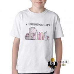 Camiseta Infantil Leitura engrandece a alma