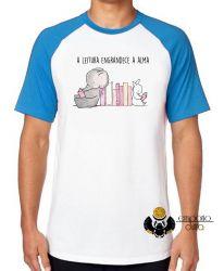 Camiseta Raglan Leitura engrandece a alma