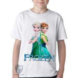 Camiseta Infantil Frozen Anna Elsa de costas