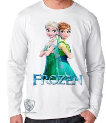 Camiseta Manga Longa Frozen Anna Elsa de costas
