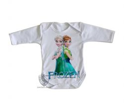 Roupa Bebê manga longa Frozen Anna Elsa de costas