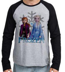 Camiseta Manga Longa Frozen II Anna Elsa