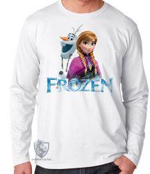 Camiseta Manga Longa Frozen Anna Olaf