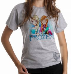 Blusa  feminina Frozen Anna Elsa desenho
