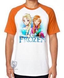 Camiseta Raglan Frozen Anna Elsa desenho