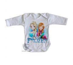 Roupa Bebê manga longa Frozen Anna Elsa desenho