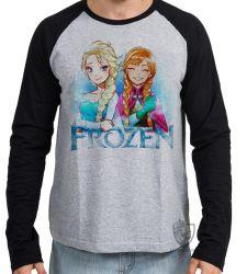 Camiseta Manga Longa Frozen Anna Elsa desenho