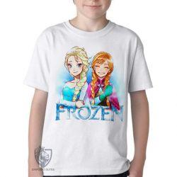 Camiseta Infantil Frozen Anna Elsa desenho