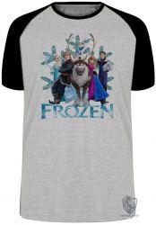 Camiseta Raglan Frozen floco de neve todos