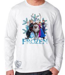Camiseta Manga Longa Frozen floco de neve todos