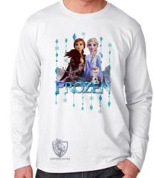 Camiseta Manga Longa Frozen II Elsa Anna Olaf