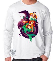 Camiseta Manga Longa Pequena Sereia