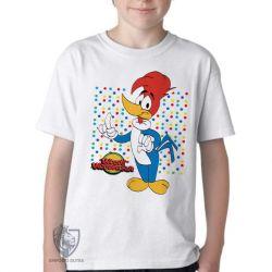 Camiseta Infantil Pica Pau bolinhas