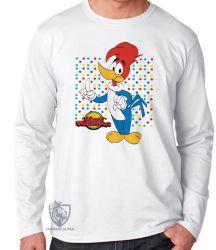 Camiseta Manga Longa Pica Pau  bolinhas