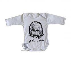 Roupa Bebê manga longa Albert Einstein rosto