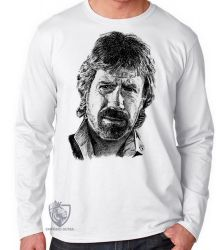Camiseta Manga Longa Chuck Norris face