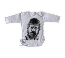 Roupa Bebê manga longa Chuck Norris face