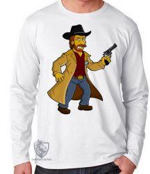 Camiseta Manga Longa Chuck Norris Simpsons