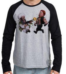 Camiseta Manga Longa Chuck Norris vs  Bin Laden