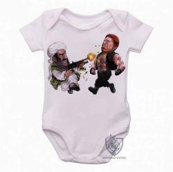 Roupa Bebê Chuck Norris vs  Bin Laden