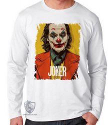 Camiseta Manga Longa Coringa  coloque um sorriso