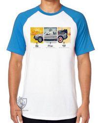 Camiseta Raglan De volta para o futuro DeLorean em quadros