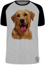 Camiseta Raglan  Labrador Caramelo língua