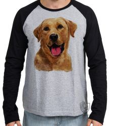 Camiseta Manga Longa  Labrador Caramelo  língua