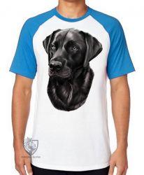 Camiseta Raglan  Labrador Preto perfil