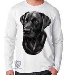 Camiseta Manga Longa  Labrador Preto perfil