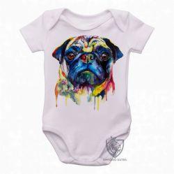 Roupa Bebê Pug colorido