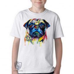 Camiseta Infantil Pug colorido