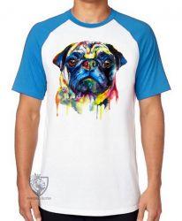 Camiseta Raglan Pug colorido