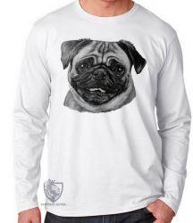 Camiseta Manga Longa Pug descolorido