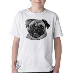 Camiseta Infantil Pug descolorido