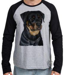 Camiseta Manga Longa Rottweiler sério