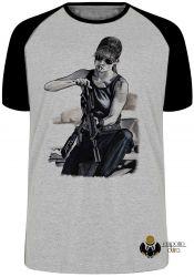 Camiseta Raglan Exterminador do Futuro Sarah Connor